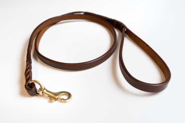 Angel Braided lArgentinean leather dog lead Brown