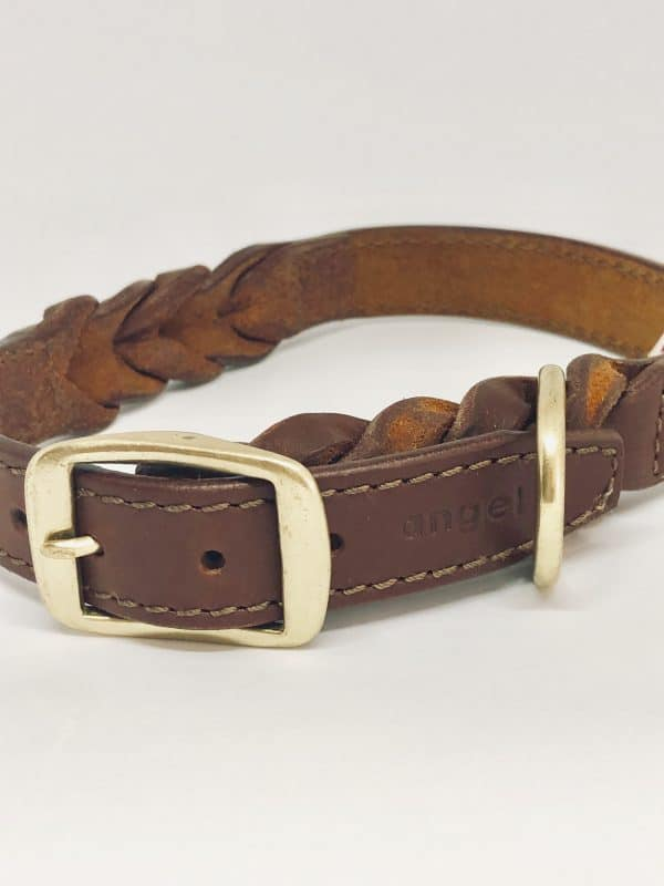 Angel Braided leather dog collar