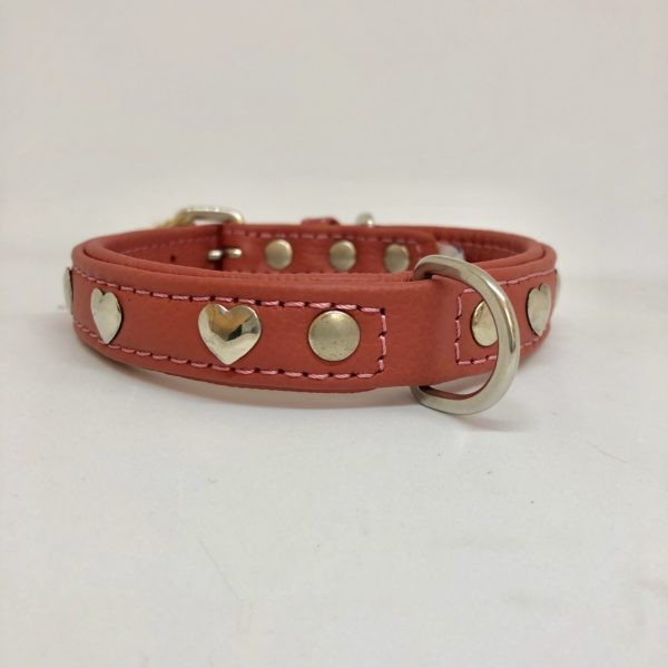Angel Hearts leather collar Bubble Gum Pink