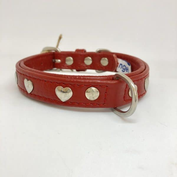 Angel Hearts leather collar valentine red