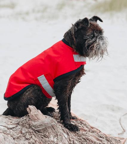 Red wool lined waterproof rain coat