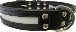 Angel New York Leather reflective collar black