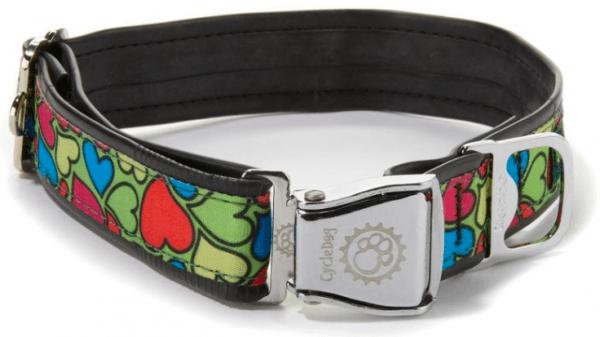 Cycle Dog green based hearts dog collar