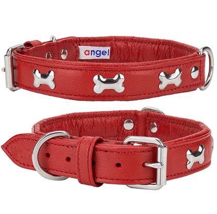 Angel Rotterdam Bones leather dog collar