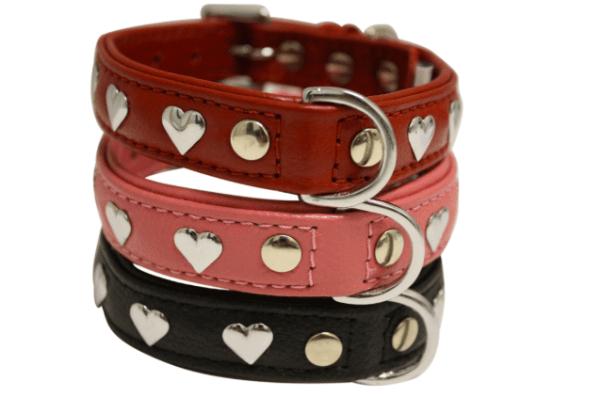 Angel Hearts soft leather dog collar