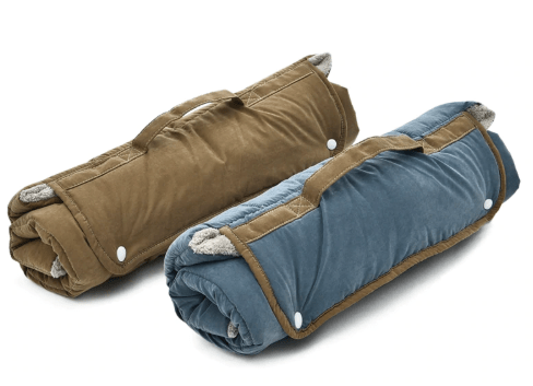 Luxury plush folding pet blanket made from cotton and soft plush.