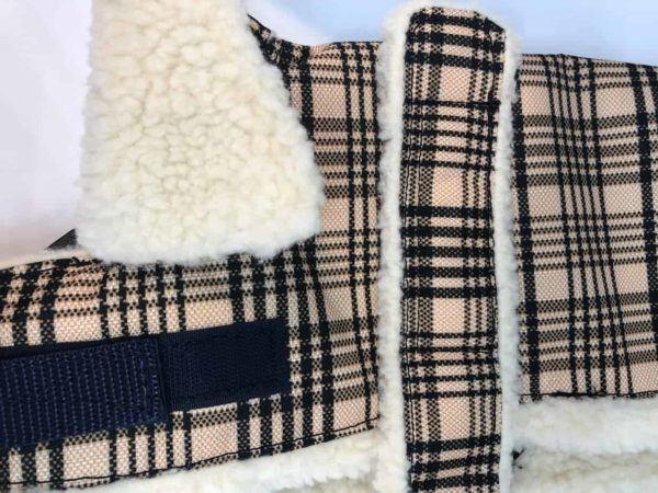 ShedrowK9 sherpa lined dog coat with traditional plaid design