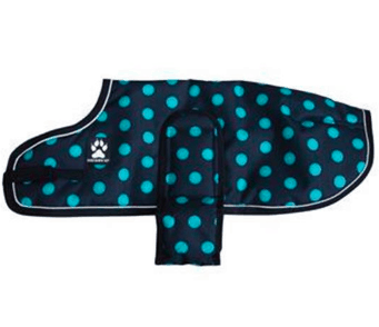 Shedrowk9 black and teal spotted dog coat