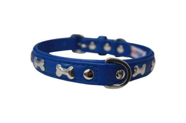 Angel Rotterdam Bones leather dog collar with stainless steel fittings