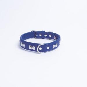 Angel Rotterdam Bones leather dog collar Colbolt Blue