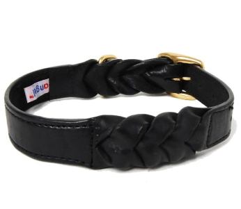 Angel Braided harness leather dog collar