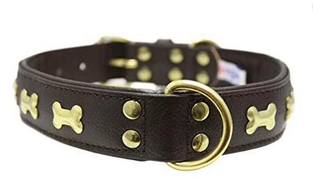Angel Rotterdam Bones leather collar brown with solid brass bones