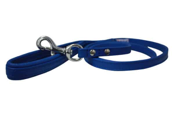 Angel Alpine leather lead with soft padded handle Colbolt blue.