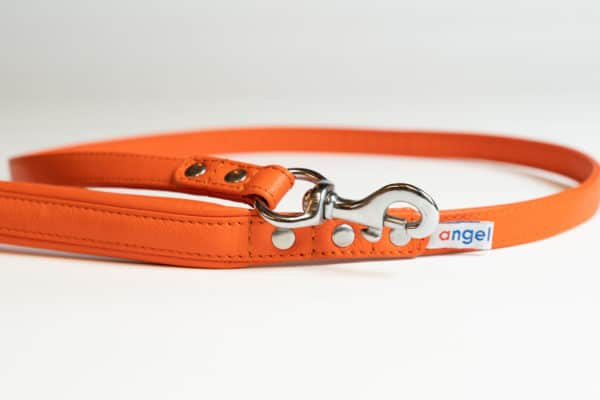 Angel Alpine leather dog lead Gold Fish Orange limited edition