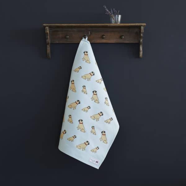 Pug Tea Towel organic cotton