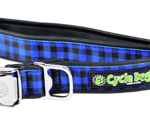 Cycle Dog dog collar blue plaid with pup top bottle opener