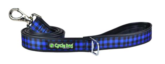 Cycle Dog dog lead blue plaid with pup top bottle opener