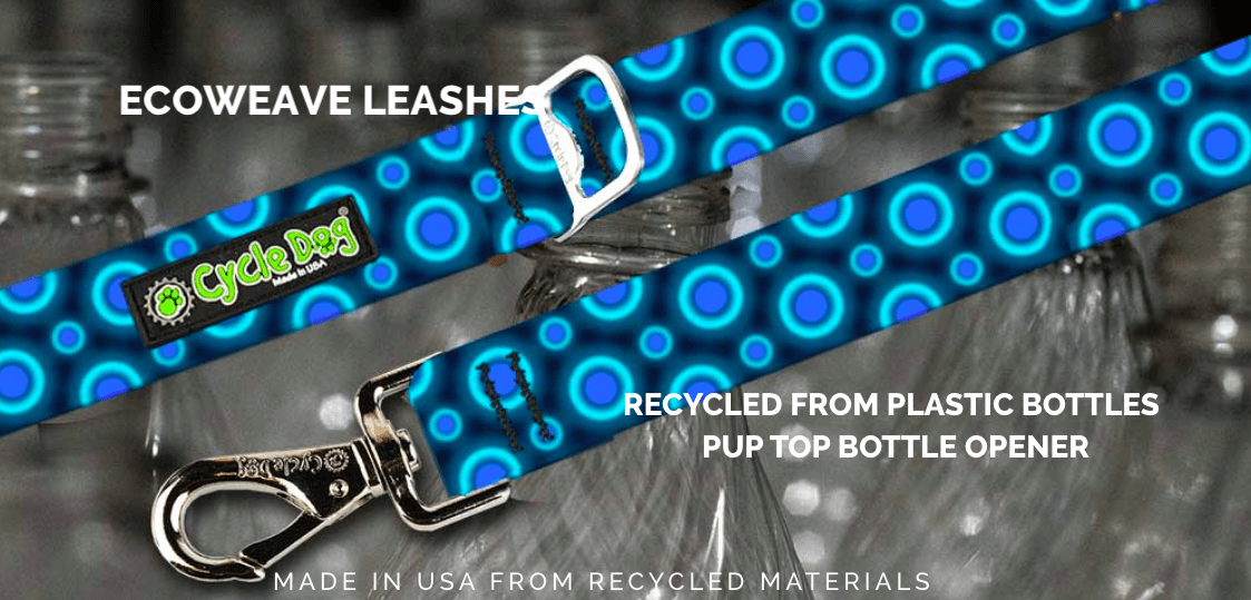 Cycle Dog dog leads made from eco weave - recycled plastic bottles