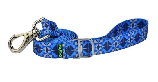 Cycle Dog dog lead eco weave blue grey Kaleidoscope with pup top bottle openere