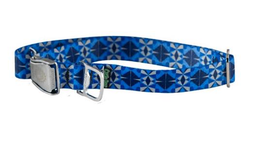 Cycle Dog dog collar blue grey Kaleidoscope made from plastic bottles