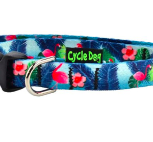 Cycle Dog dog collar eco weave Flamingo's for small dogs made from plastic bottles