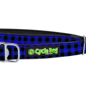 Cycle Dog waterproof Blue plaid dog collar