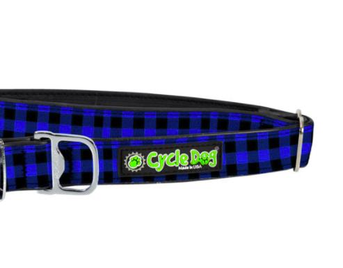 Cycle Dog waterproof Blue plaid dog collar