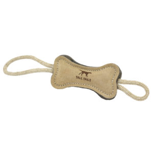 Tall Tails Natural Leather and Wool Bone dog toy