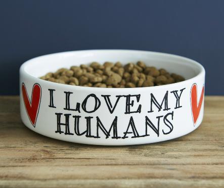 Sweet William I Love My Humans dog bowl