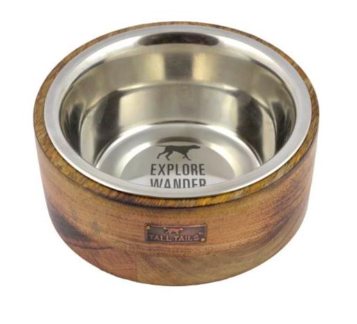 Tall Tails Wood riser dog bowl