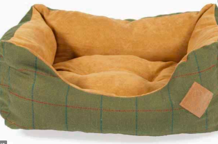 Danish Design Green Tweed snuggle dog bed made in the UK