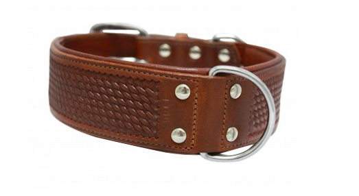 Angel Santa Fe leather dog collar brown