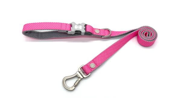 Hugo and Hudson dog lead Pink Polka Dot