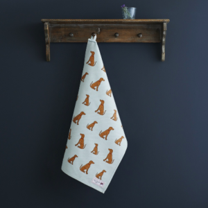 Vizsla tea towel organic cotton