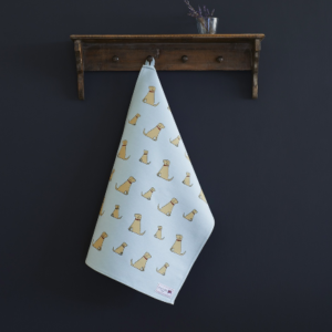 Golden Labrador tea towel organic cotton