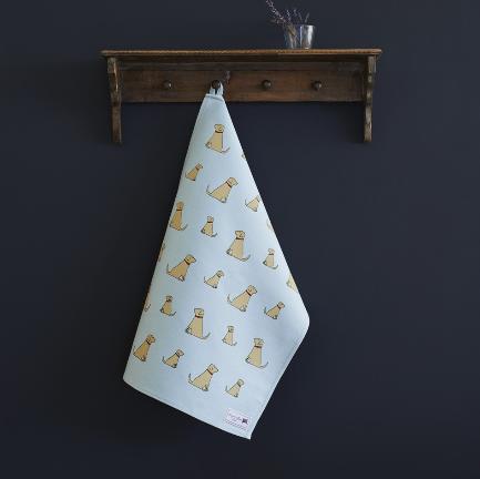 Golden Labrador tea towel organic cotton