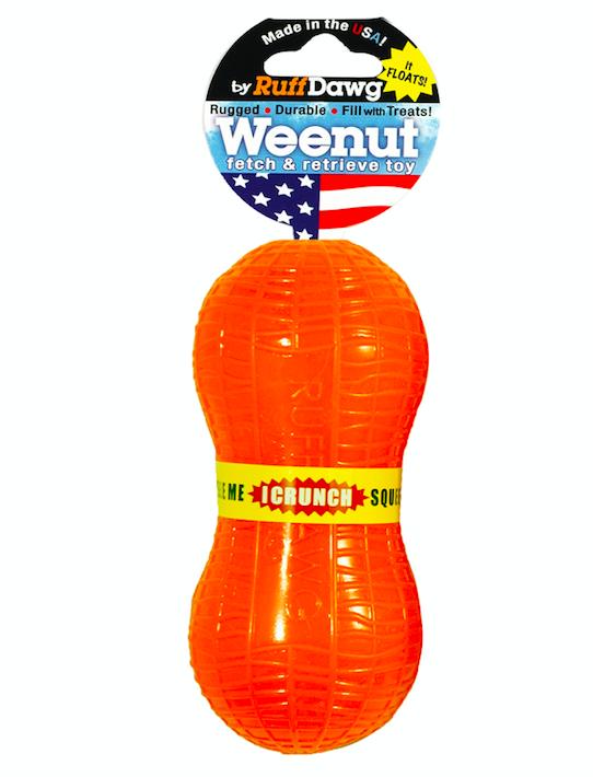 Ruff Dawg Weenut Crunch retrieving toy that smells like peanuts