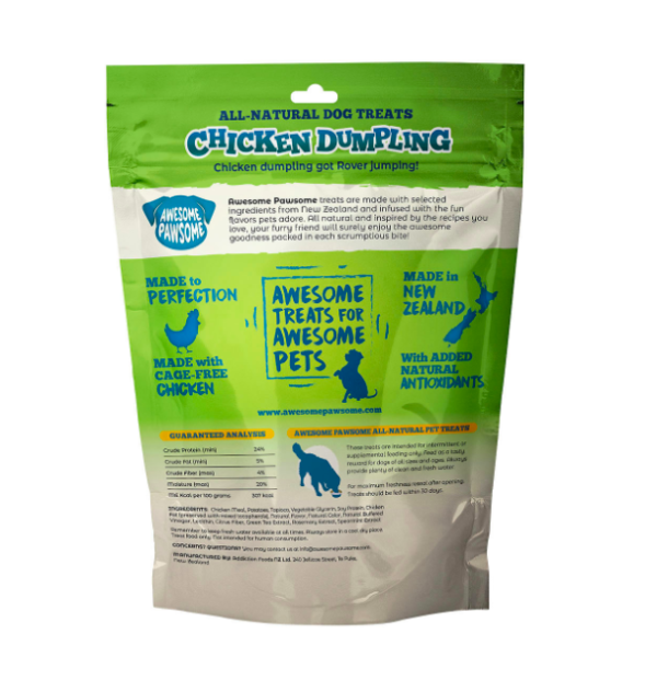 Awesome Pawsome Chicken Dumpling dog treats made in New Zealand
