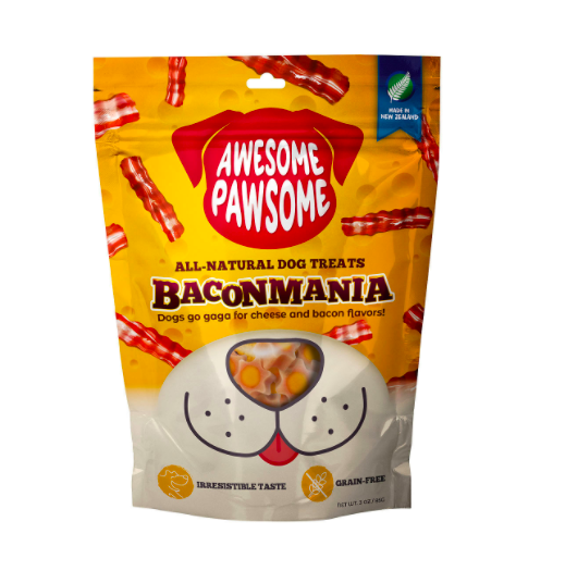 Awesome Pawsome dog treats BaconMania made in New Zealand