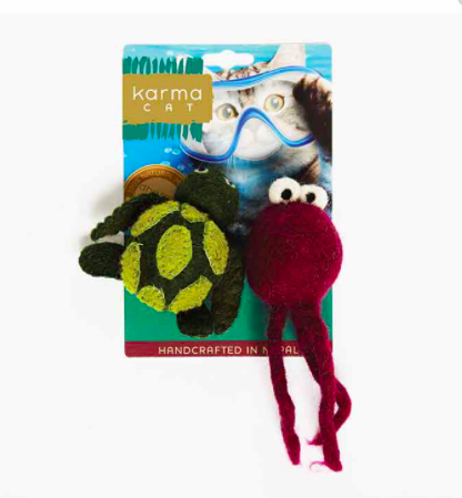 Karma wool cat toys Turtle and Jellyfish